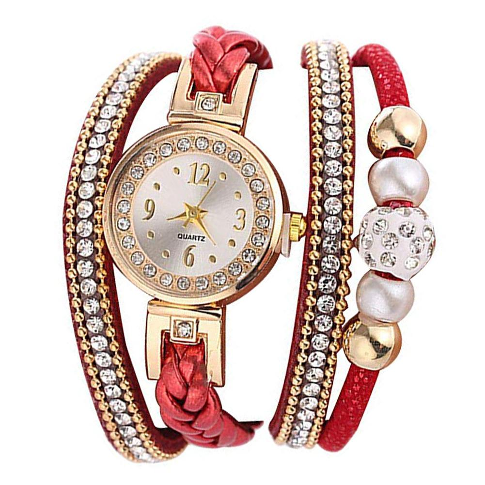 Women Rhinestone Bead Round Dial Snap Button Multi Layer Bracelet Quartz Watch