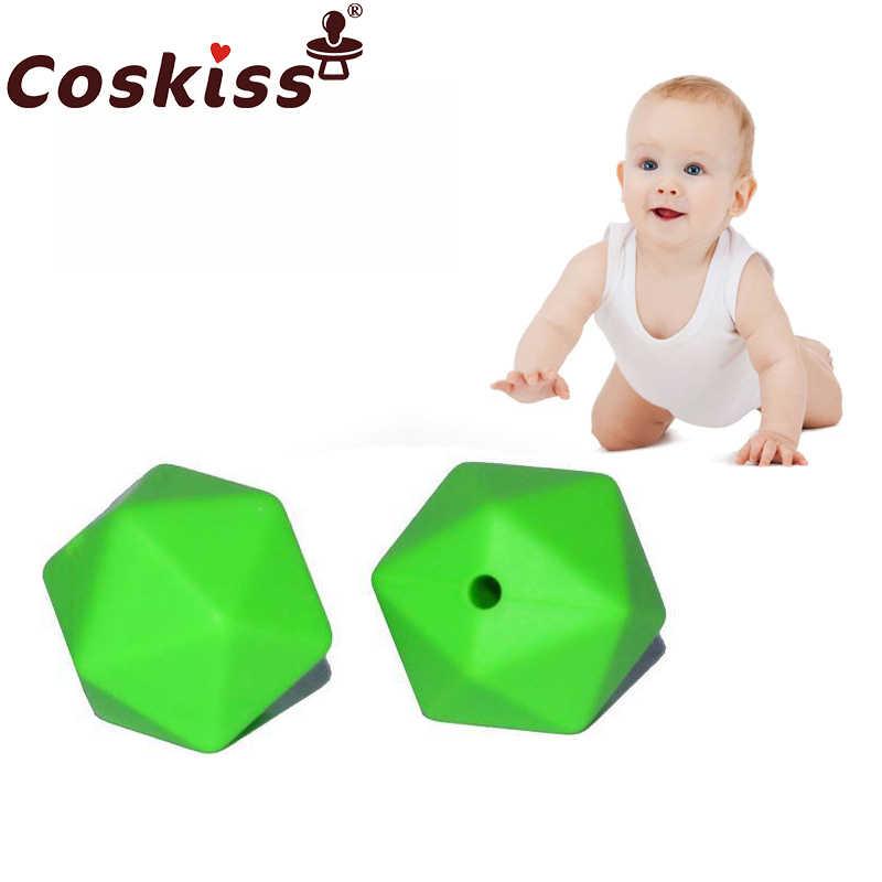 Coskiss 10 Buah 14 Mm Manik Silikon Hexagon Bpa Gratis Silicone Teether DIY Mainan Gigi Bayi Kunyah Aksesoris Bayi Teether