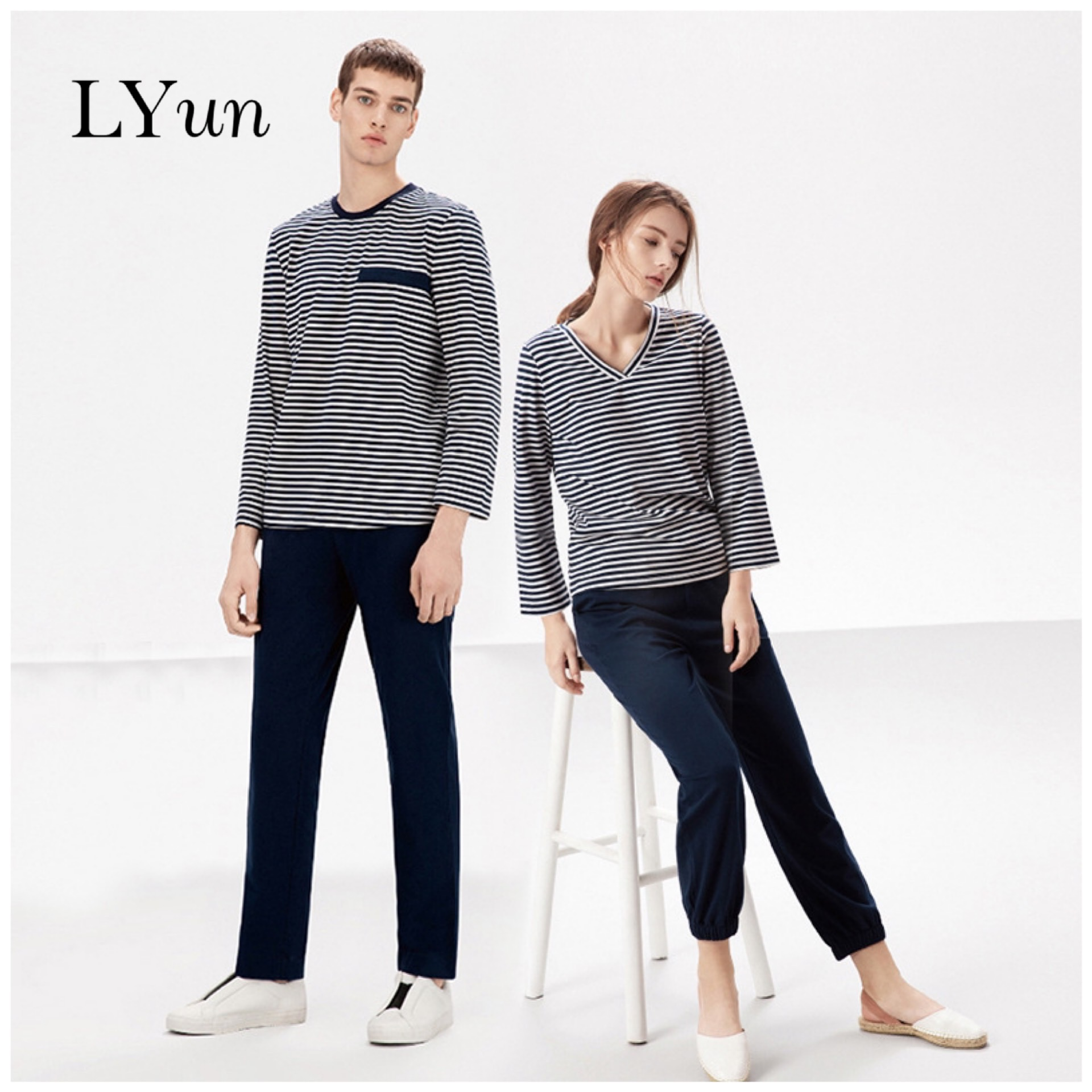 Autumn And Winter Pajamas Women Long Sleeves Can Wear Outerwear Plus Size Men's Striped Jacket Trousers Couple Home Service Suit