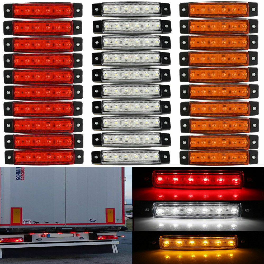 30x 6 LED Light SMD 12V White Red Orange Truck Trailer Pickup Side Marker Indicators Lights Caravan Tractor Go Kart