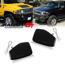Smoked/Clear Lens White/Amber Dual color LED Front Side Marker Lights For 2005/2006 2010 Hummer H3, For 2009 2010 Hummer H3T