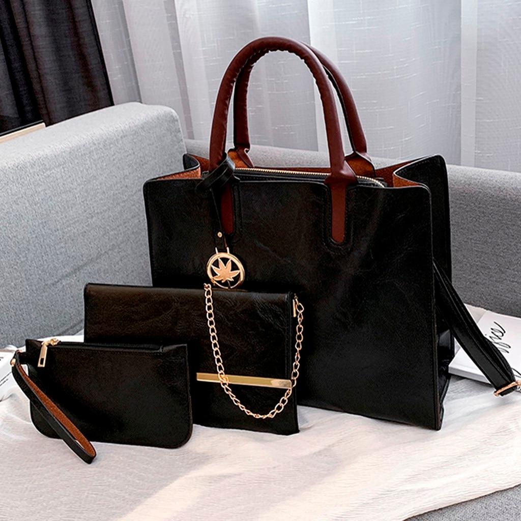 Ensemble sacs 3 pièces mode en cuir PU dames sac à main 78