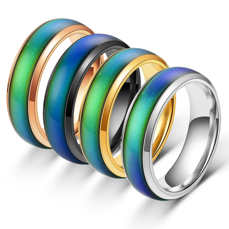 Температурное кольцо, парные кольца из нержавеющей стали для женщин и мужчин, меняющие температуру, цвет золотой, черный, ювелирные изделия,...