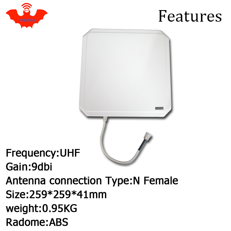 Купить с кэшбэком UHF RFID antenna Vikitek VA094 high performance 915MHZ Long range RFID Panel antenna 9dBic 902-928MHZ be used for rfid reader