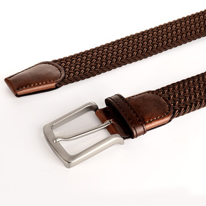 Image 5 - Drizzte Plus Size 130 150 160 170 180 190cm Brown Braid Woven Elastic Stretch Belt Mens for Big and Tall Man High Quality