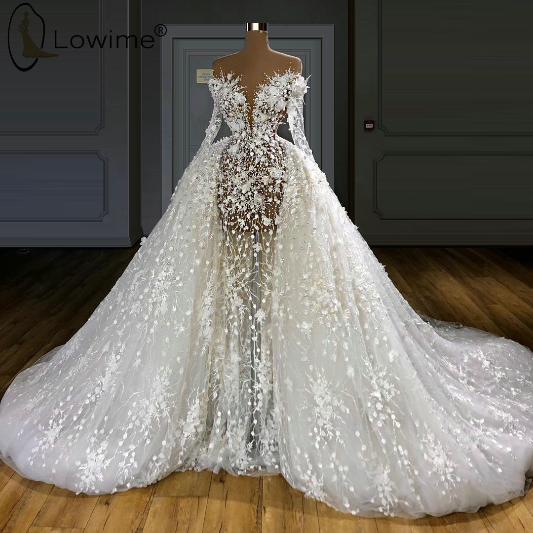 Luxury See Through Pearls Mermaid Lace Wedding Dresses with Removable Train Long Sleeve Bridal Gowns robes de mari  e