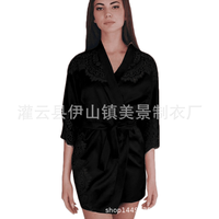 Plant pattern lace splicing perspective has light cloth medium long appeal household yue gown