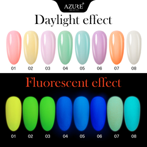 Image 3 - Azure Schoonheid 8 Stks/partij Lichtgevende Nail Gel Fluorescerende In De Dark Led Gel Nagellak Losweken Langdurige Chameleon gel Vernis