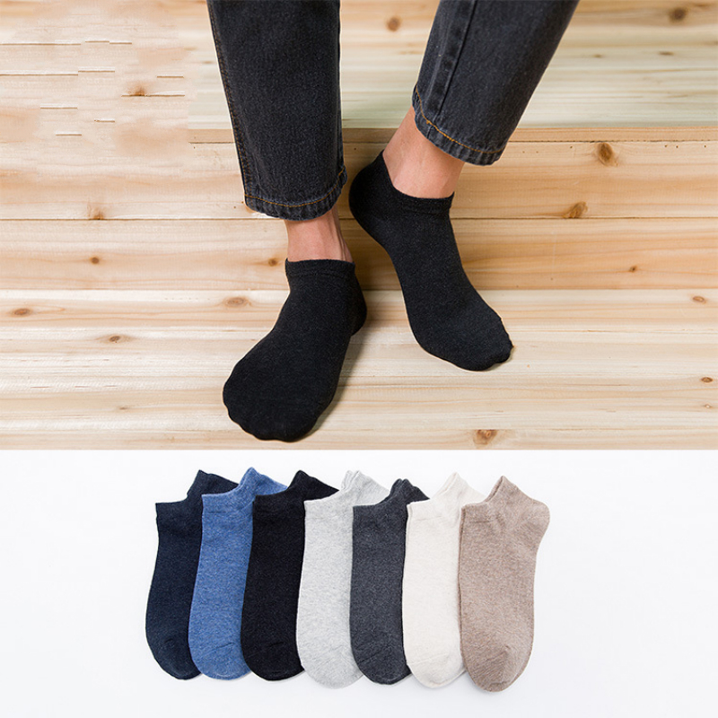10pcs=5pairs/lot No Show Socks Men Casual Boat Slipper Thin Solid Breath Cotton for Male Non Slip