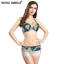 로얄 SMEELA 녹색 여성 밸리 댄스 의상 집시 브래지어 벨트 댄스 세트 배꼽 춤 의류 배꼽 춤 브래지어 벨트 119061