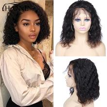Wig Human-Hair Natural-Wave Glueless Short Lace-Front Black Women 150%Density Bob HANNE