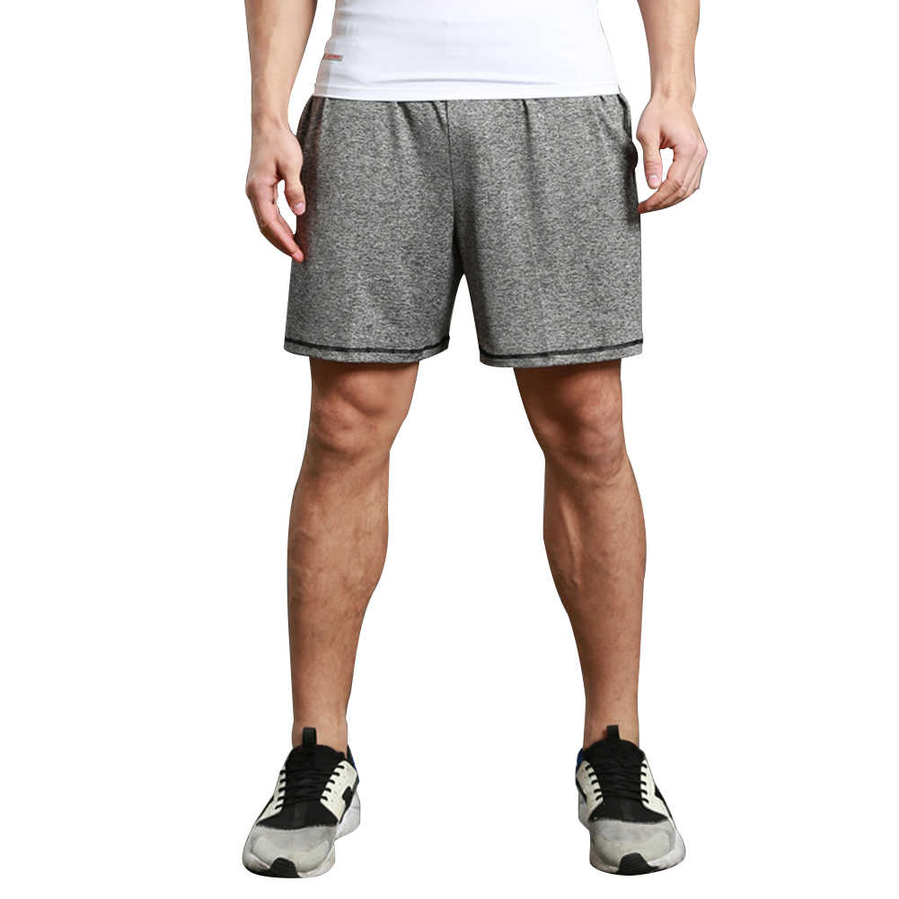 男性弾性ウエストバンド速乾性ポケットジムスポーツランニング運動ショーツ
