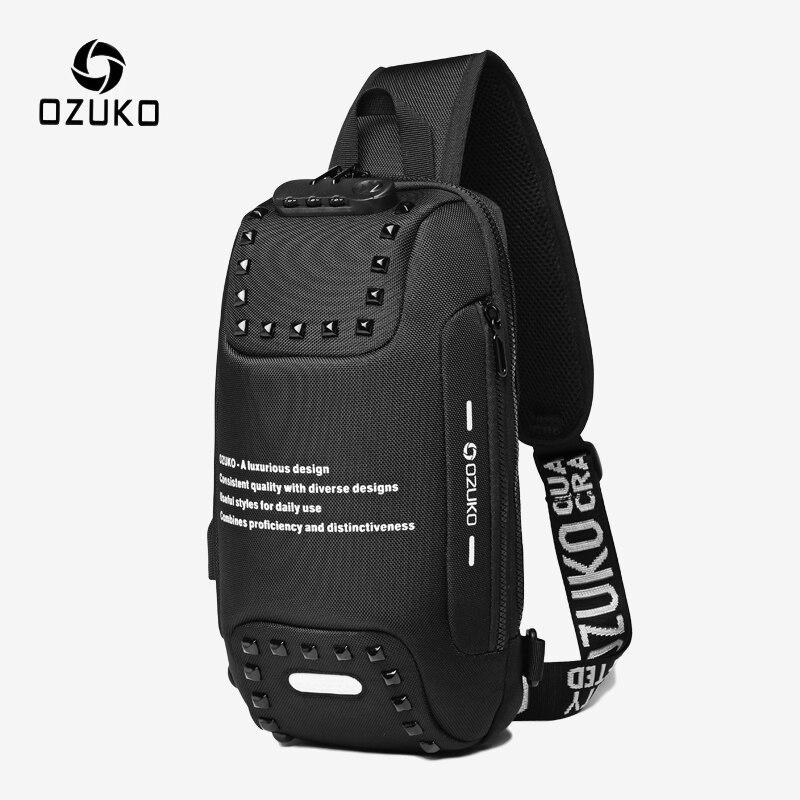 OZUKO Anti Theft Rivet Shoulder Bag for Men USB Charging Waterproof Messenger Crossbody Bag Male Chest Pack Sling Bags Fashion
