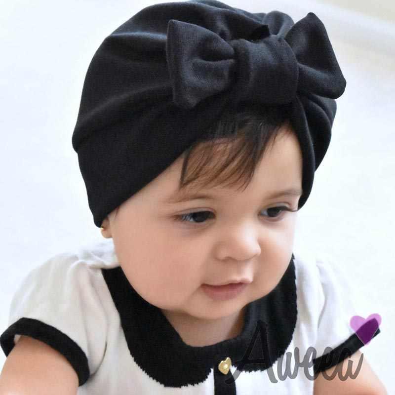 YALOODE חם תינוק כובעי קשת כובעי תינוק מצנפת כפת קאפה תינוקות פעוט טורבן תינוק שיער אבזרים