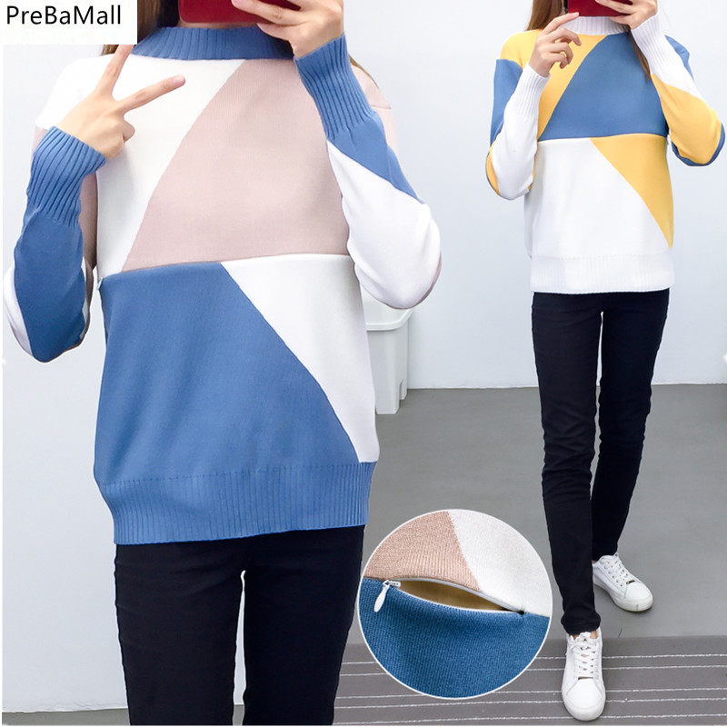 Breastfeeding Maternity Sweater 2019 Autumn Winter Nursing Tops for Pregnant Women Tee Color Matching Pregnancy Sweater C0108(China)