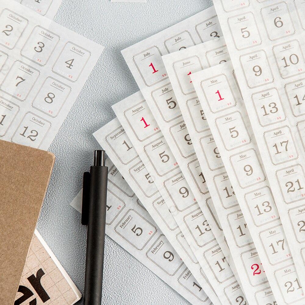 12 Sheets Creative 365 Days Daily Plan Handbook Label Washi Sticker Calendar DIY Diary Scrapbooking Decoration Sticker