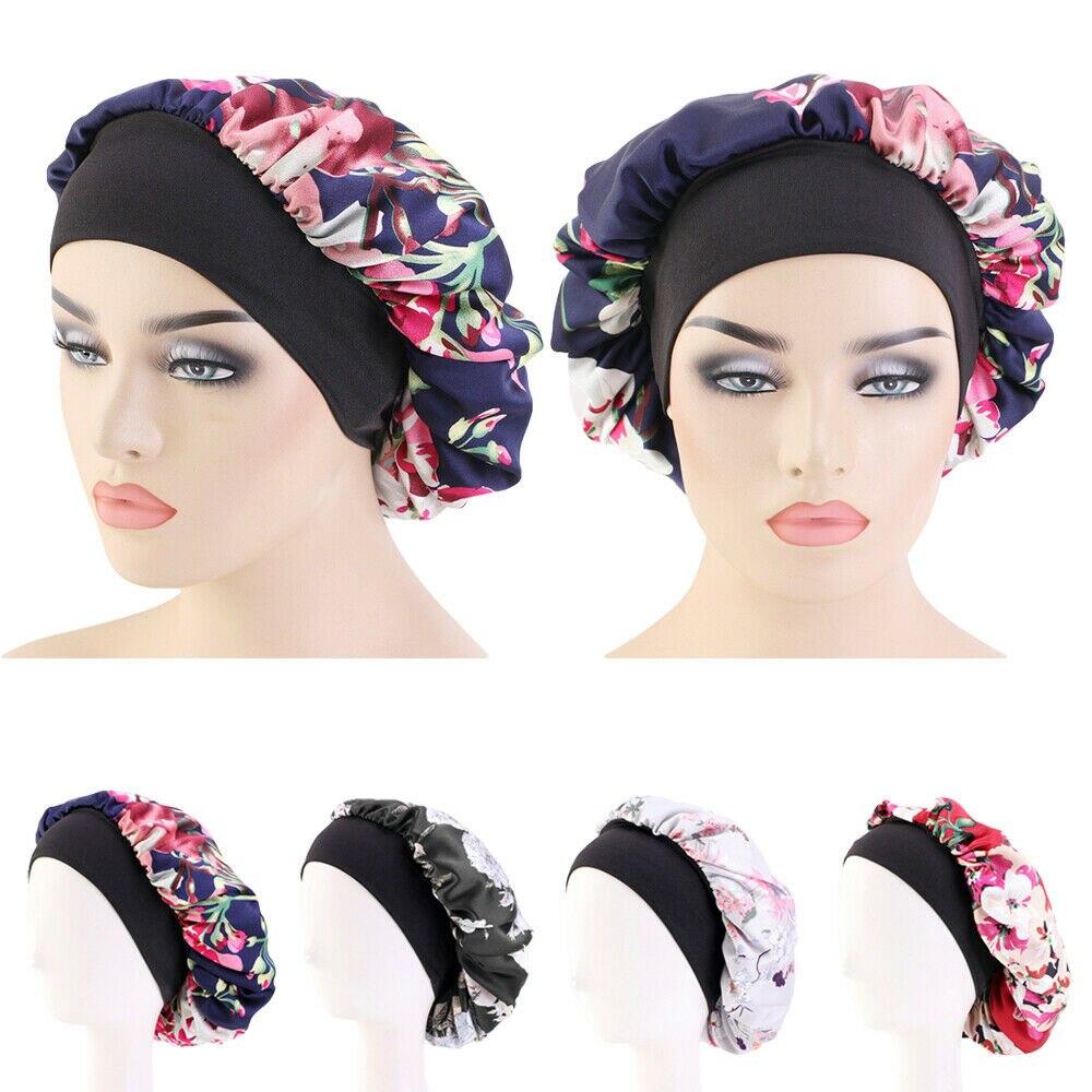 Женская атласная шляпка с цветочным принтом, шелковая шляпка для сна, широкий эластичный головной убор