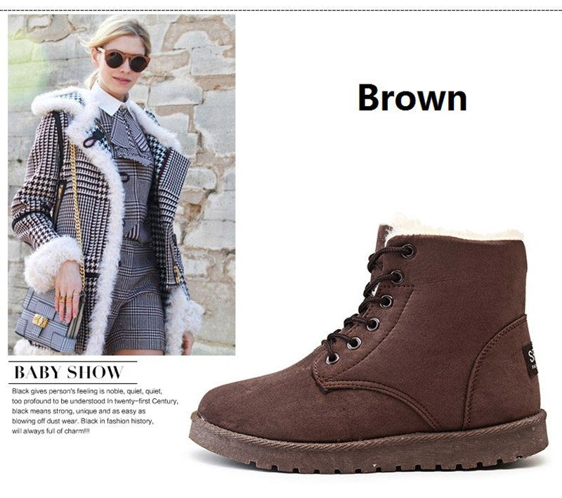 Women Flock Fur Flat Lace Up Winter Snow Suede Ankle Boots Female 19