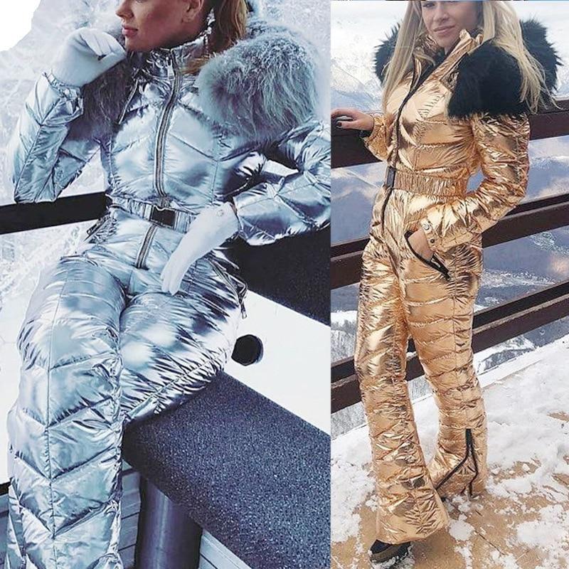 Combinaison de Ski à capuche avec col en fourrure 35