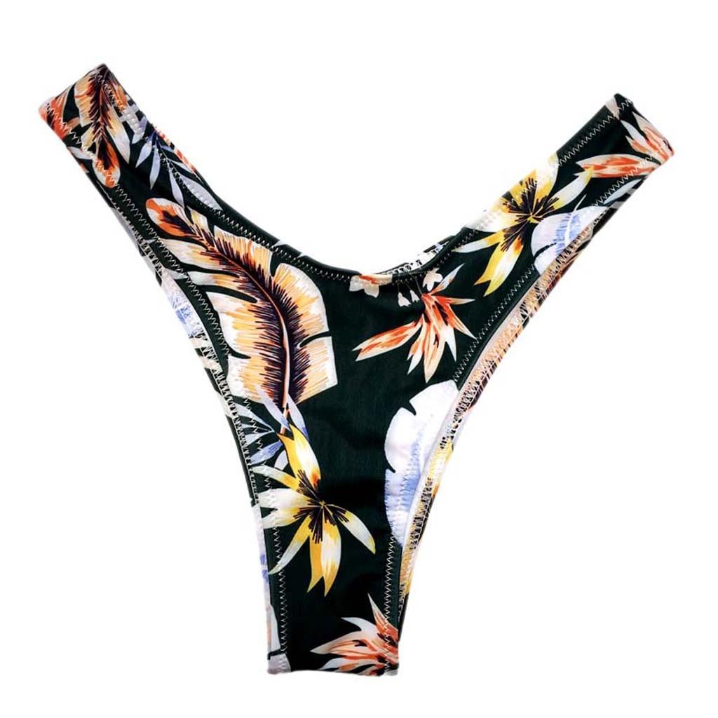 2020 Sexy Bikini Bottoms Brazilian Swimwear Women Briefs Thong Female G String Swimsuits Print Cheeky Bikini Bottom Swim Trunks