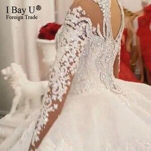Image 5 - 100% תמונה אמיתית יוקרה בלינג 3D אבנים חתונת שמלה ארוך שרוולים 2020 קריסטל כדור שמלה נפוחה 180cm רכבת
