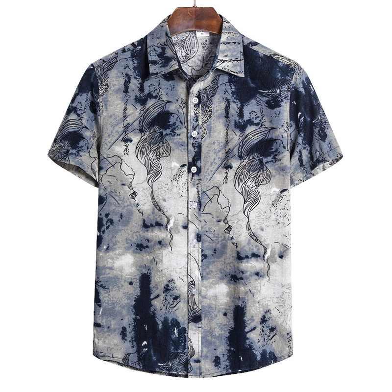 2020 男性シャツ半袖プリントカジュアルブラウスアロハシャツ男性トップス夏幾何プラスサイズシャツ 5XL