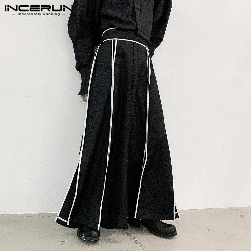 Fashion Men Wide Leg Pants Striped Joggers Elastic Waist Streetwear Casual Pantalon Loose Punk Split Hem Trousers S-5XL INCERUN