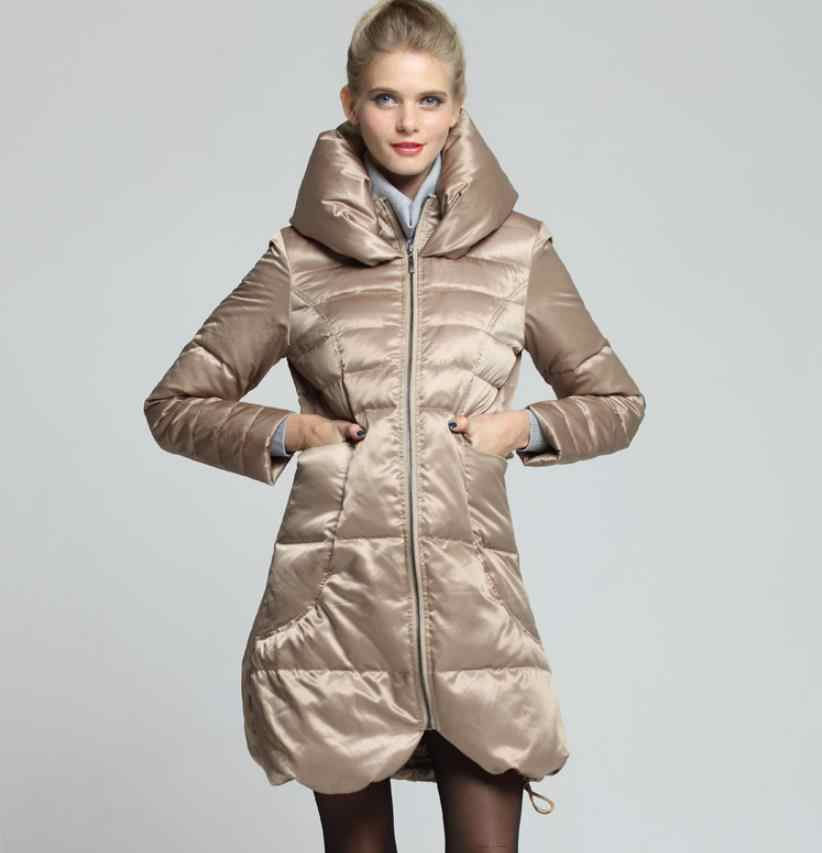Winter Haufen kragen 90% weiße ente unten mantel weibliche lange war dünn dünne warme daunen parkas hohe kragen design warme unten jacke F463