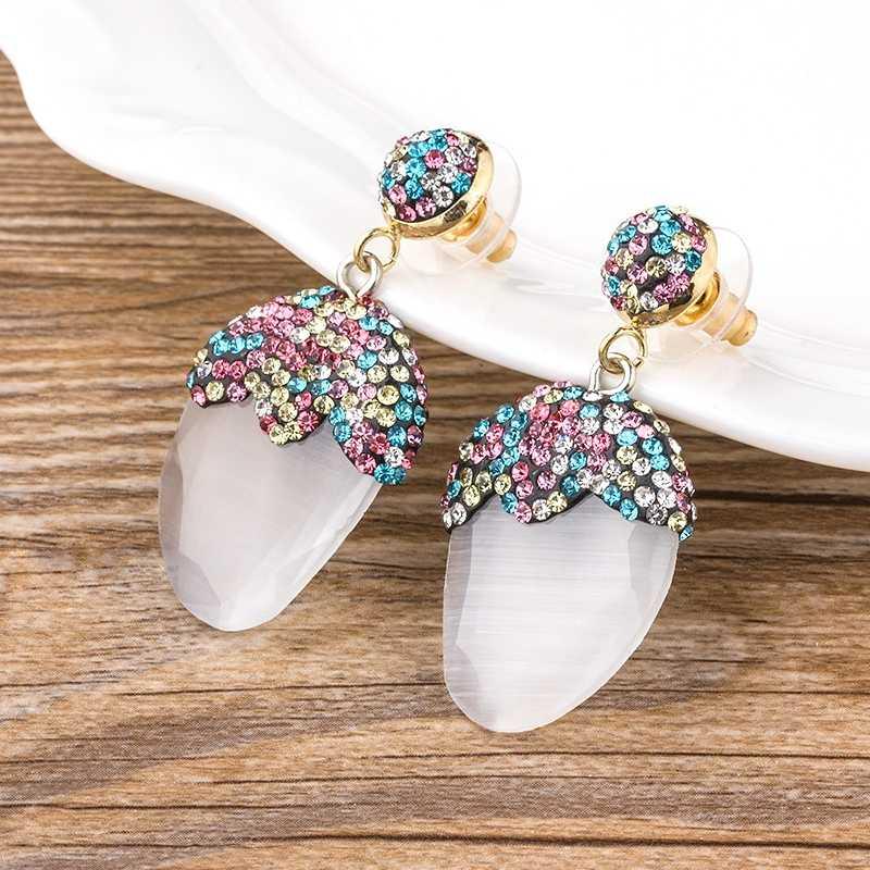 Klassische Persönlichkeit Natürliche Baumeln Ohrringe Natürliche Stein Boho Ethnische Vintage Hängen CZ Ohrringe Beste Geschenk Für Frauen Mädchen