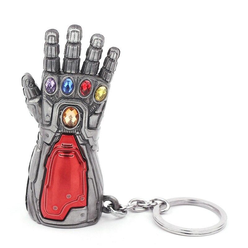Marvel Мстители 4 Железный человек Бесконечность гаунтлет Косплей рука танос латексные перчатки руки супергерой бутафорское оружие ключ цепь - Цвет: Antique Silver