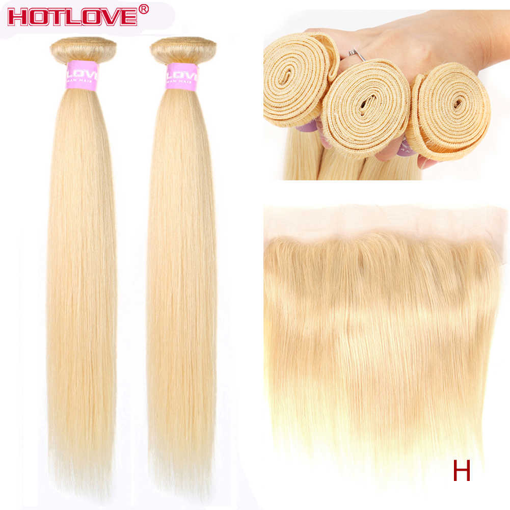 613 Blonde Straight Hair 2 Bundles with Lace Frontal Closure with Baby Hair Malaysian Honey Blonde Hair Bundle With Frontal Remy