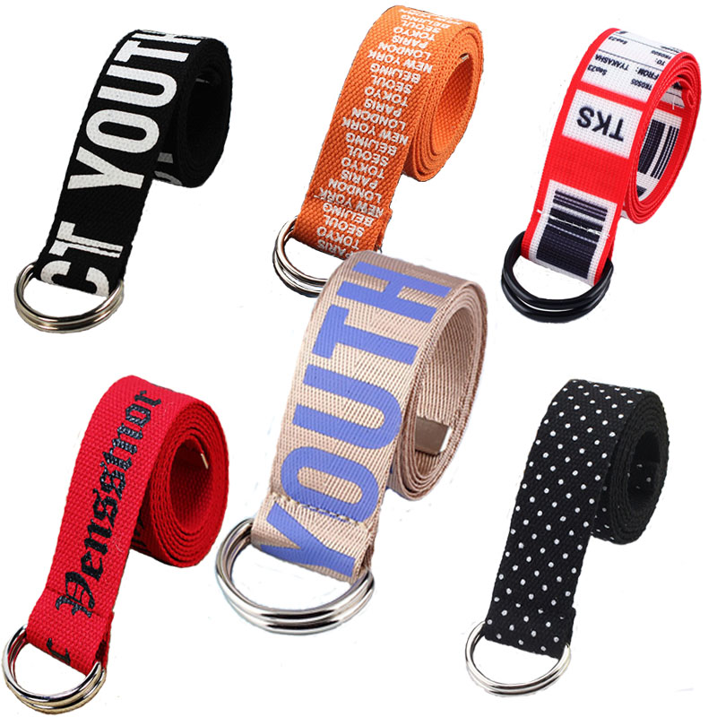 Canvas Casual Belts Women Punk  Letter Long  Waist Strap Multi Style Collection Jeans Trouser D Shape Buckle Female Waist Belts