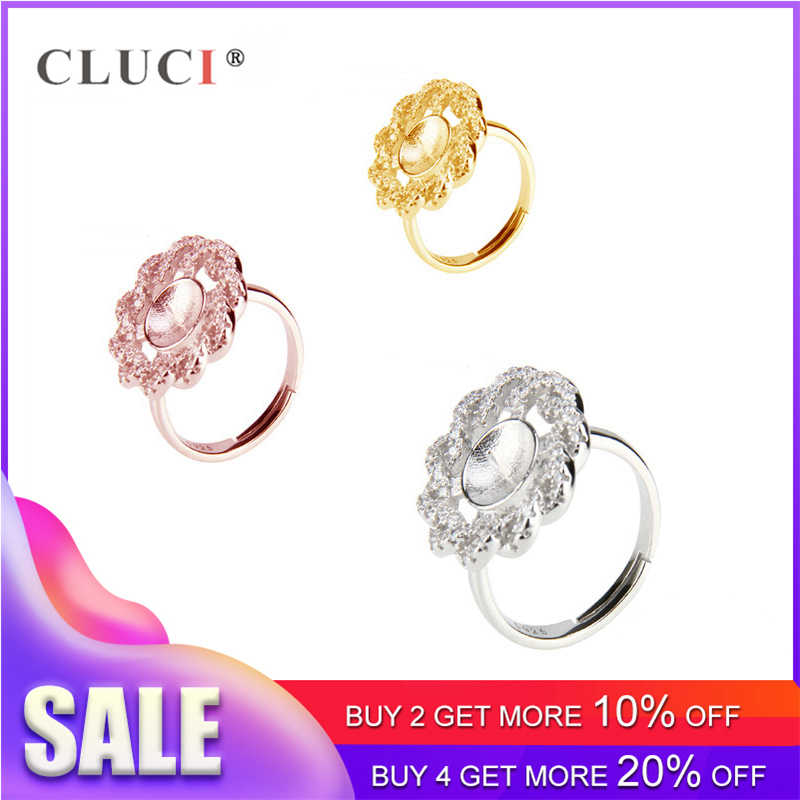 CLUCI Romantic Silver 925 Flower Ring Valentine Day Gift for Women Jewelry Sterling Silver Zircon Pearl Ring Mounting