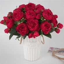 5 Forks 9 Head Artificial Silk Peony Flowers Bouquet Party DIY Wedding Bride Decoration Fake For Home Garden Decor