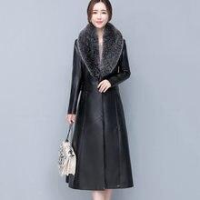 Женская кожаная куртка с меховым воротником однотонная приталенная