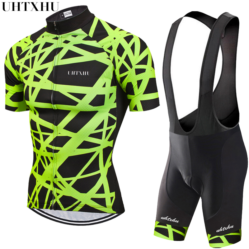 Uhtxhu 2020 Cycling Set Men Cycling Jersey Set MTB <font><b>Bike</b></font> Clothes Breathable Anti-UV Road Bicycle <font><b>Wear</b></font> Cycling Clothing image