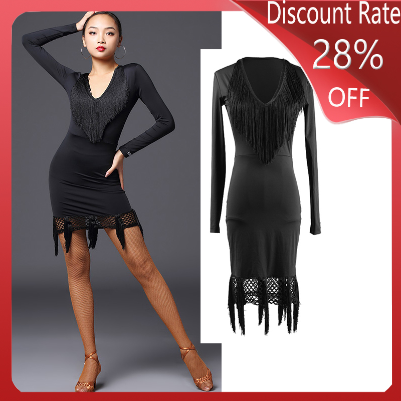 Women Latin Dance Costume Long Sleeve Black Fringe Dress  Latin Dance Competition Dresses Performance Robe Danse Clothes DQS3641
