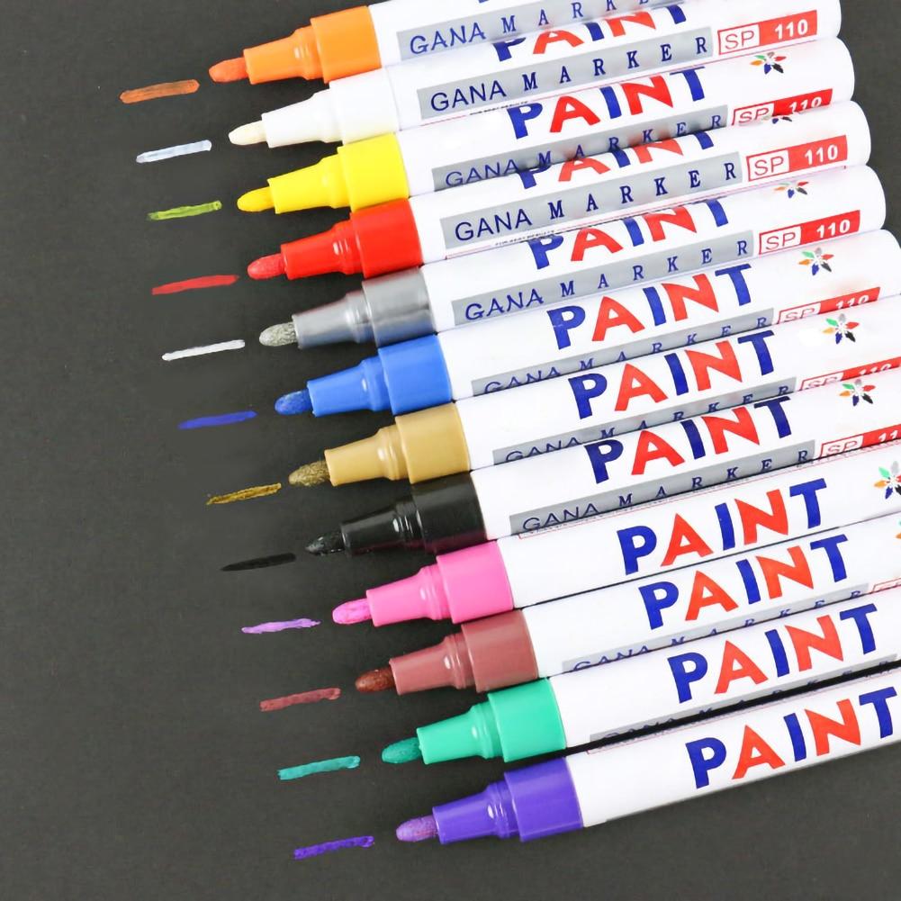 12 Colors Paint Pen Waterproof Marker Pen Car Tyre Tire Tread CD Metal Permanent Paint Marker Graffti Stationery