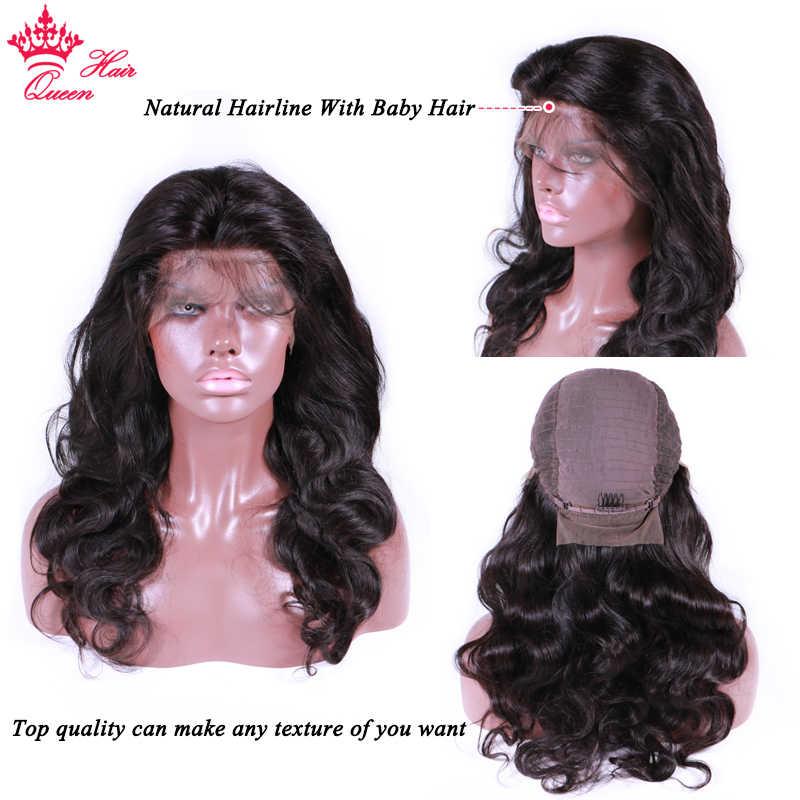 Königin Haar Offizielle Shop 13x6 HD Transparent Spitze Front Menschliches Haar Perücken BlackHair Körper Welle Glueless Frontal Perücke für Frauen