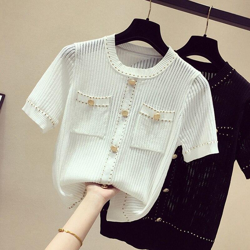 Thin Hollow Out T Shirt Women Bright Silk Knitted 2020 New Summer Tops Woman Short Sleeve Casual T-Shirt Female Tee Shirt Femme