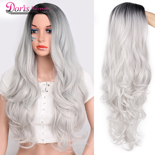 Doris beauty Synthetic Long Wavy Ombre Gray Wig for Woman Cosplay Wig Brown Red Black Blonde Heat Resistant Fiber 2
