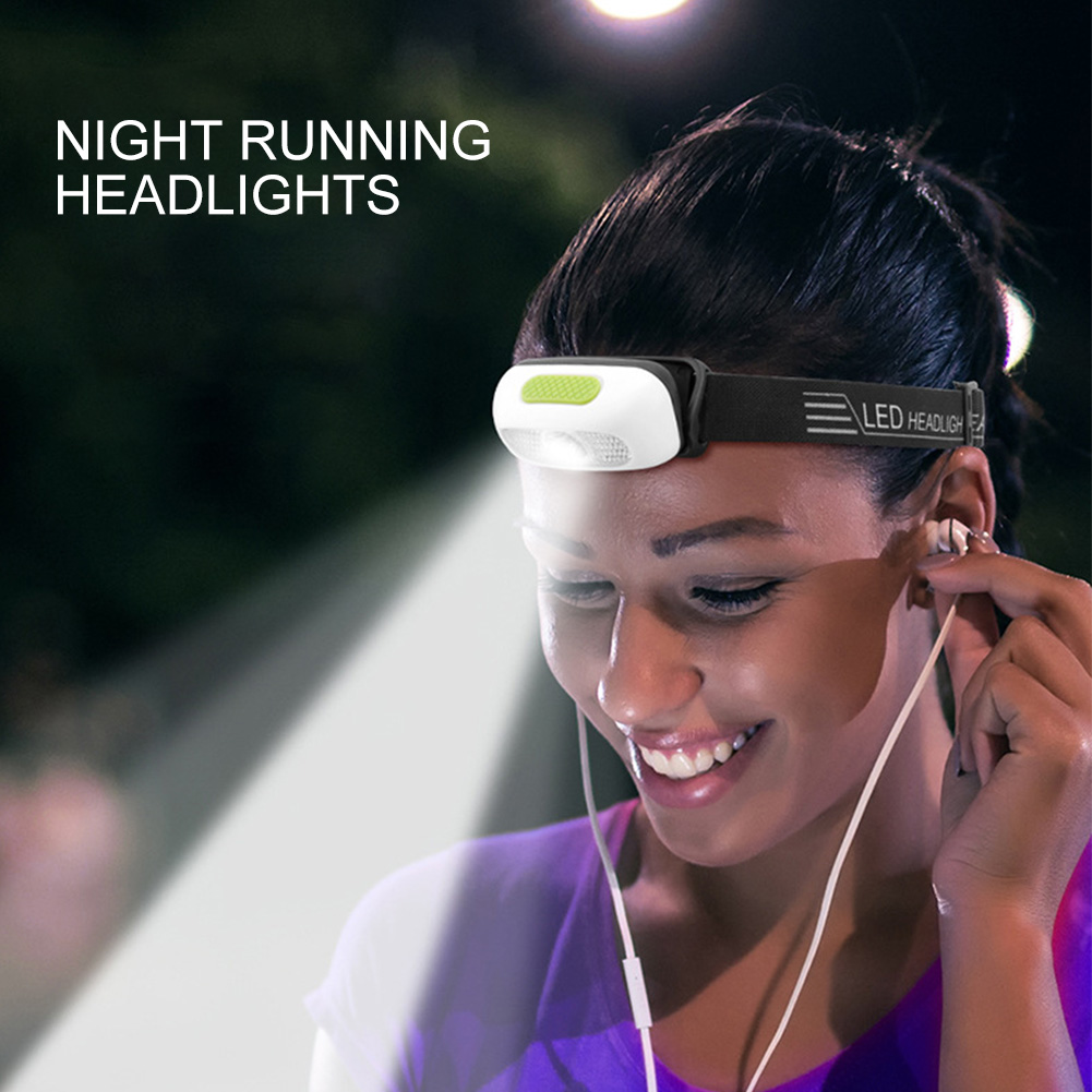Outdoor Waterproof Elastic Band Headlamp Portable USB Charging Running Dimmable