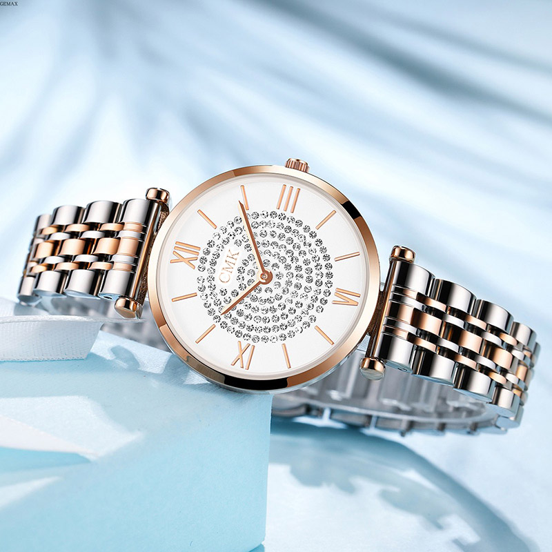 Montre Femme Modern Fashion Reloj Mujer Rhinestone Watch Women Mesh Stainless Steel Bracelet Luxury Starry Wrist Watch For Woman
