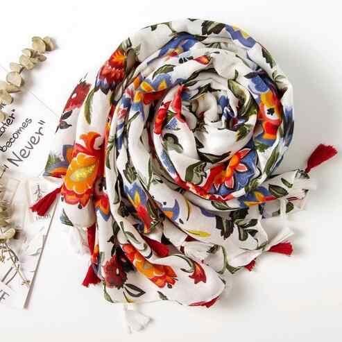 Etnis Kepala Syal 2020 Wanita Musim Gugur Musim Semi Spanyol Gaya Hippie Bohemian Romantis Panjang Floral Cetak Syal DC509