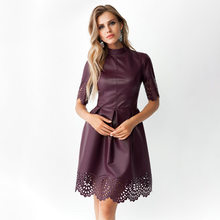 Hot Bodycon Dresses Party Dress Women Clothes 2021 Spring Pure Round Neck Hook Flower Hollow Short Sleeve Dress LY36