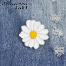 Милый металлический значок белая Маргаритка Весенняя Пасхальная эмалированная булавка с отворотом Броши для женщин и девочек для одежды сумка подарок на день матери