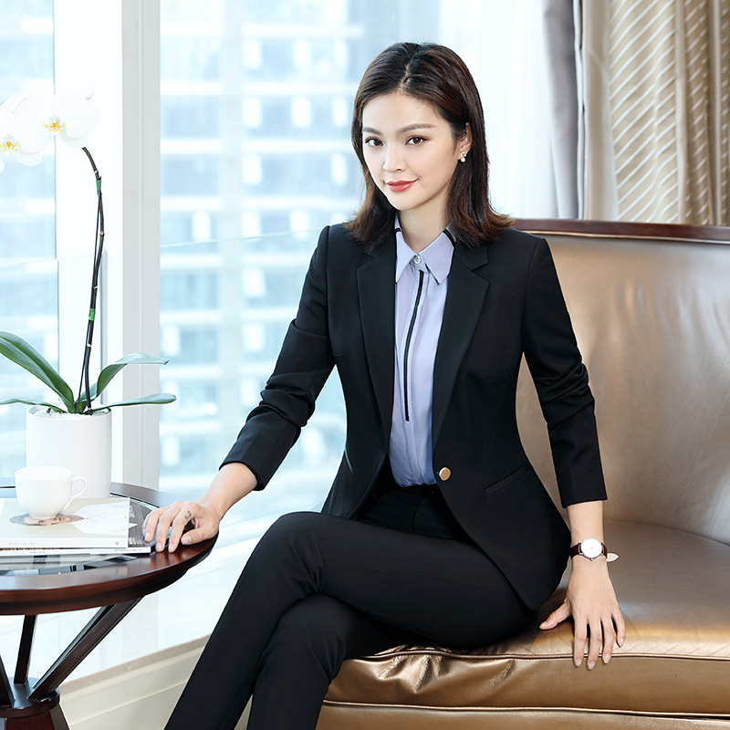 Formal Business elegant Women's Slim Blazer Skirt Suits With Tops Jackets Skirts Two Pieces Office Work Wear OL Sets Plus Size