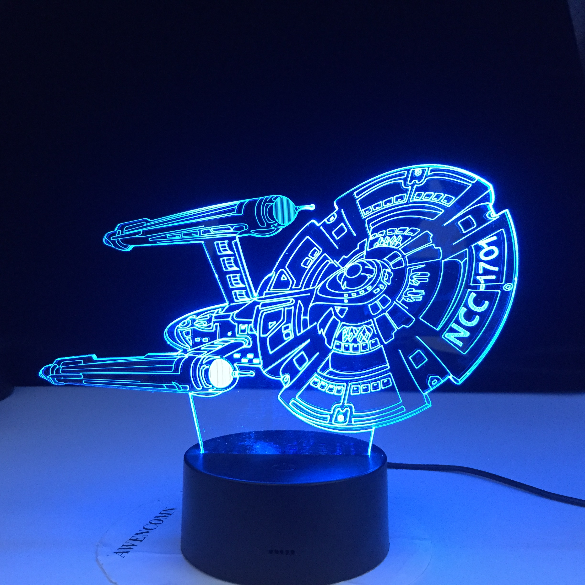 Star Wars Starship <font><b>NCC</b></font> <font><b>1701</b></font> 3d LED Night Light for Child Bedroom Decor Color Changing Best Birthday Gift for Kids Night Lamp image