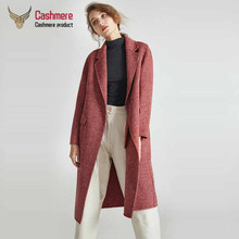 2019 Autumn winter New handmade houndstooth double-faced cashmere coat female woolen coat in a long section of slim wool coat duoupa 2019 spring new handmade wool double faced coat woolen coat female long section was thin korean version