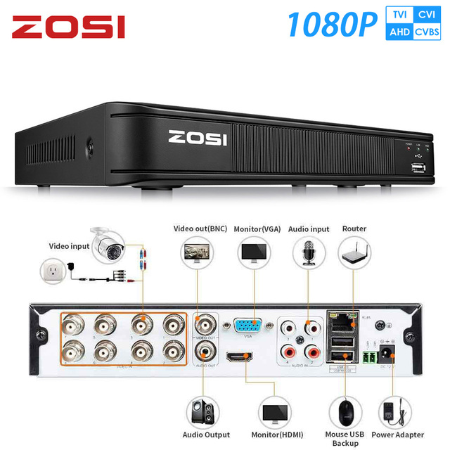ZOSI 1080P 8 قناة TVI DVR 8CH AHD CVI TVI CVBS DVR 1920*1080 2MP CCTV مسجل فيديو الهجين DVR نظام الأمن فيديكام